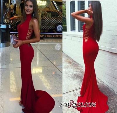 Red Sleeveless High-Neck Mermaid Elegant Sweep-Train Prom Dress UK BA4418_3