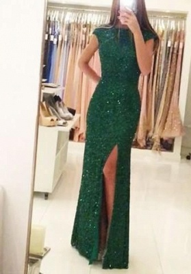 Floor-length Backless Sheath-Column Sequins Elegant Green Evening Dress UK_3