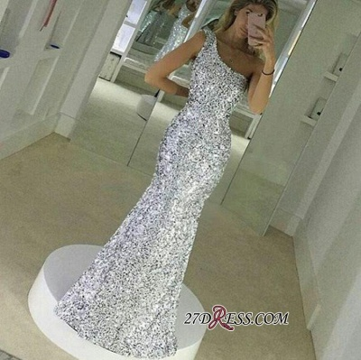 Popular One-Shoulder Sequined Floor-Lenth Mermaid Simple Prom Dress UK qq0148_2