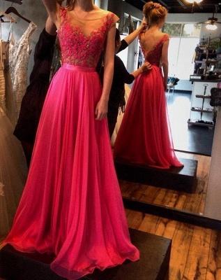 Luxury Fuchsia Sleeveless Evening Gowns Appliques Long Chiffon_1
