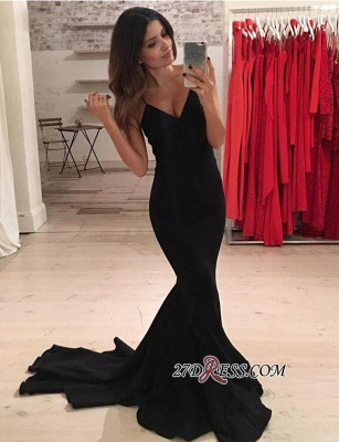 Elegant Spaghetti-Strap Black V-Neck Mermaid Prom Dress UK BA5230_2