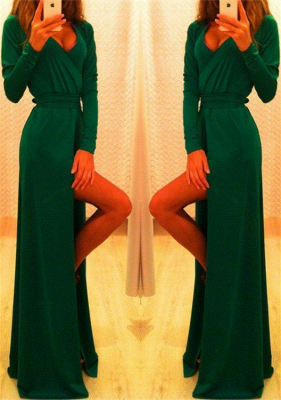 Sexy Long Sleeve Green Prom Dress UK Long Front Split Party Gowns_1