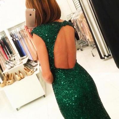 Floor-length Backless Sheath-Column Sequins Elegant Green Evening Dress UK_4