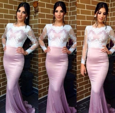 Elegant Jewel Long Sleeve Mermaid Prom Dress UK With Lace Appliques_2