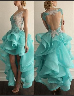 Elegant Hi-Lo Sleeveless Prom Dress UK With Appliques Ruffles_2