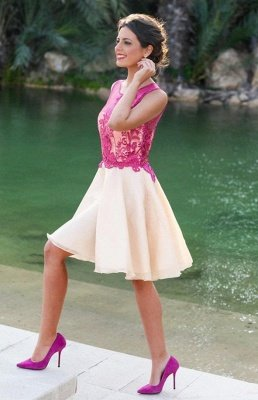 Short Sleeveless Fuchsia lovely Appliques Chiffon Lace Homecoming Dress UK_1