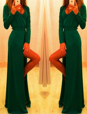 Sexy Long Sleeve Green Prom Dress UK Long Front Split Party Gowns_3