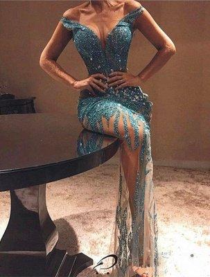 Elegant Off-the-shoulder Bodycon Beads Prom Dress UK | Lace Prom Dress UK_1