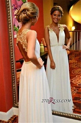 Appliques Open-Back Sleeveless White Beadings V-Neck A-Line Prom Dress UK_1