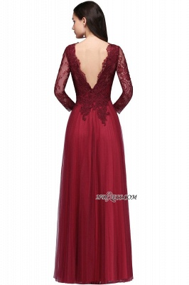 V-Neck Long-Sleeves Burgundy Floor-Length A-line Prom Dress UKes UK_6