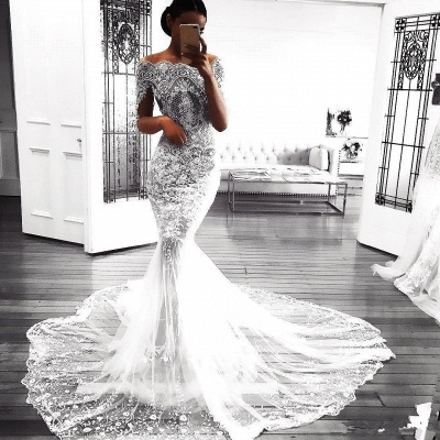 Sexy Mermaid Long Sleeve Lace Wedding Dress   Flowers See Through Tulle Cheap Bride Dress_3