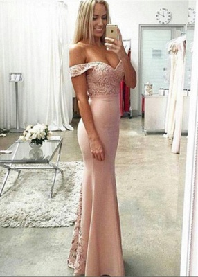Newest Off-the-shoulder Mermaid Prom Dress UK Lace Floor-length_1