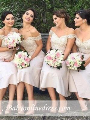 Short Lace Gorgeous Off-the-Shoulder Bridesmaids Dress UK_4
