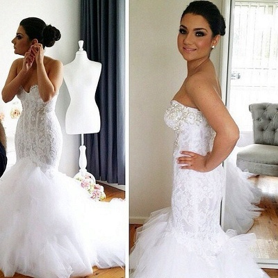 Elegant Sweetheart  Sexy Mermaid Lace Wedding Dresses UK Court Train Bridal Gowns with Beadss_2