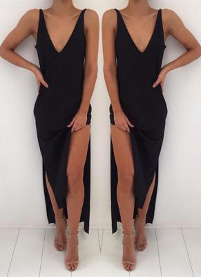 Elegant Black V-Neck Prom Dress UK Long Front Split BA3823_1