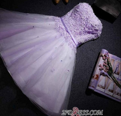 Lace Sweetheart Sleeveless Appliques Flowers Mini Delicate Homecoming Dress UK_3