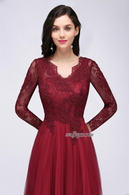V-Neck Long-Sleeves Burgundy Floor-Length A-line Prom Dress UKes UK_7