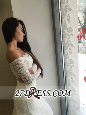 Modest White Off-the-shoulder Long-Sleeve Lace Sweep-Train Sexy Mermaid Wedding Dress_2