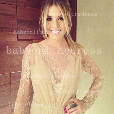 Shining Lace Long Prom Dress UKes UK Jewel Long Sleeve Vestidos Dress UK Applique Backless_3