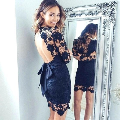 Elegant Black Short V-neck Homecoming Dress UK | Long Sleeve Homecoming Dress UK_4