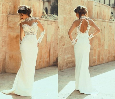 Elegant High Neck Long Sleeve Sexy Mermaid Wedding Dress Appliques_2