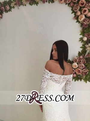 Modest White Off-the-shoulder Long-Sleeve Lace Sweep-Train Sexy Mermaid Wedding Dress_1