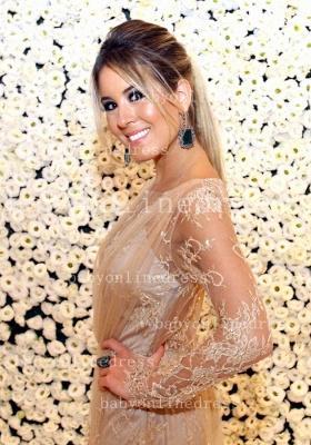Shining Lace Long Prom Dress UKes UK Jewel Long Sleeve Vestidos Dress UK Applique Backless_2