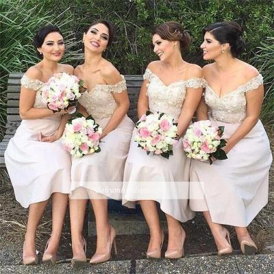 Short Lace Gorgeous Off-the-Shoulder Bridesmaids Dress UK_2