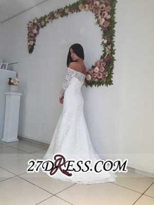Modest White Off-the-shoulder Long-Sleeve Lace Sweep-Train Sexy Mermaid Wedding Dress_3