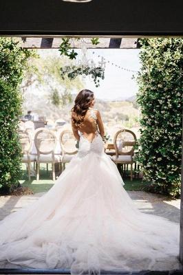 Elegant Sexy Mermaid Tulle Lace Wedding Dress Long Train Straps_3