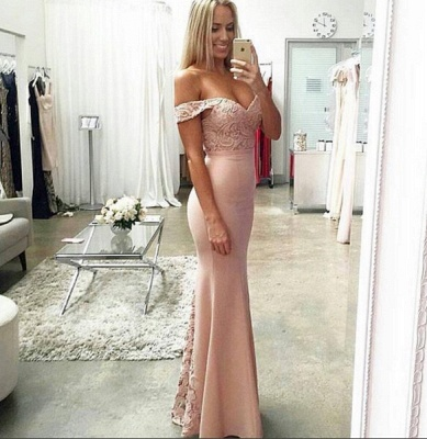 Newest Off-the-shoulder Mermaid Prom Dress UK Lace Floor-length_3
