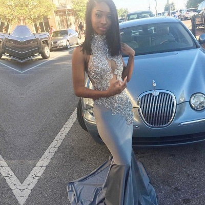 Silver Mermaid Prom Dress UK | Lace Long Evening Gowns_3