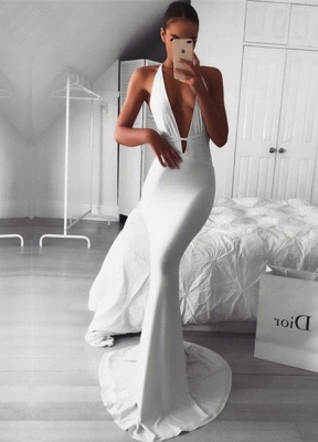 Sexy V-neck Sleeveless Prom Dress UK | 2019 Mermaid Evening Dress UK_1