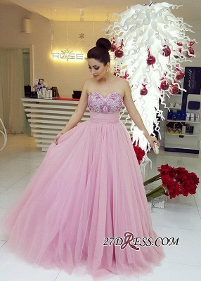 Beadings Fairy Tulle Sweetheart Long Luxury Prom Dress UK_3