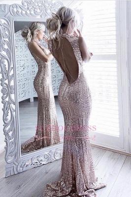 Sheath Sparkling Open-Back High-Neck Sequins Sleeveless Elegant Prom Dress UK JJ0158_1