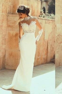Elegant High Neck Long Sleeve Sexy Mermaid Wedding Dress Appliques_1