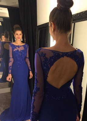 Sexy Lace Appliques Sequined Evening Dress UK Mermaid Long Sleeve AP0_2