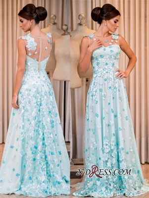 Sleeveless long prom Dress UK, evening Dress UK with appliques_4