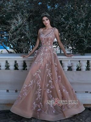 Gorgeous V-neck Sleeveless Evening Dress UK Lace Appliques Long MH0_4