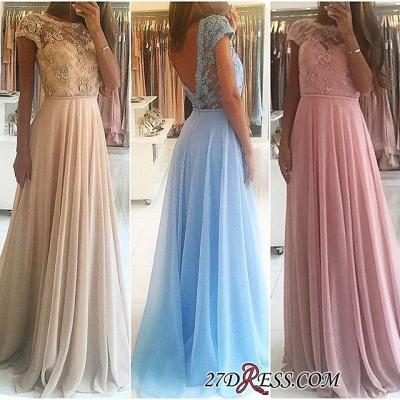 Lace A-line Chiffon Short-Sleeves Chic Floor-length Evening Dress UK_3