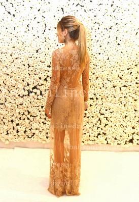 Shining Lace Long Prom Dress UKes UK Jewel Long Sleeve Vestidos Dress UK Applique Backless_5