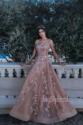 Gorgeous V-neck Sleeveless Evening Dress UK Lace Appliques Long MH0_1