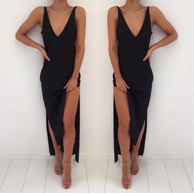 Elegant Black V-Neck Prom Dress UK Long Front Split BA3823_3
