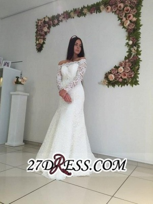 Modest White Off-the-shoulder Long-Sleeve Lace Sweep-Train Sexy Mermaid Wedding Dress_4