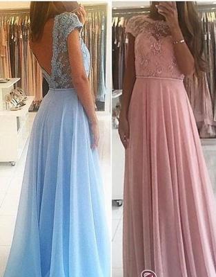 Lace A-line Chiffon Short-Sleeves Chic Floor-length Evening Dress UK_4