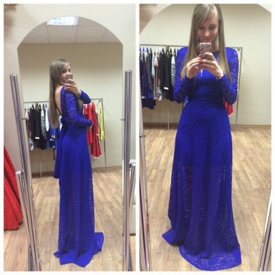 Newest Royal Blue Lace Prom Dress UK Long Sleeve A-line_3