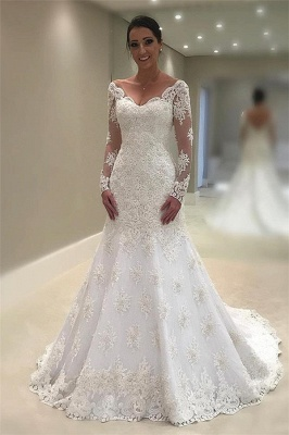 Elegant Tulle Cheap Long Sleeves Wedding Dresses UK | V-Neck  Sexy Mermaid Appliques Bridal Gown_1