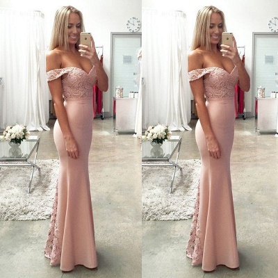 Newest Off-the-shoulder Mermaid Prom Dress UK Lace Floor-length_4