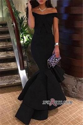 Off-the-Shoulder Black Hi-Lo Mermaid Prom Dress UK BA4619_2