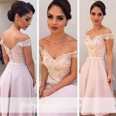 Short Lace Gorgeous Off-the-Shoulder Bridesmaids Dress UK_3